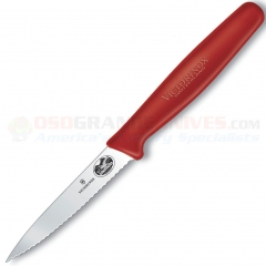 Victorinox Forschner 40603 Paring Knife, Red Nylon Handle, 3.25 Inch Wavy Edge Blade