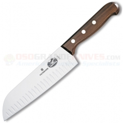 Victorinox Santoku (7 Inch Granton Edge High Carbon Stainless Steel Blade) Rosewood Handle VN41527