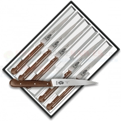 Victorinox 46003 Steak Knife Set (6-Piece, Spear Tip Serrated Blade #40003) Rosewood Handles
