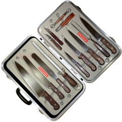 Victorinox 46051 14-Piece Gourmet Knife Set (Rosewood Handles) Black Attache Case Included