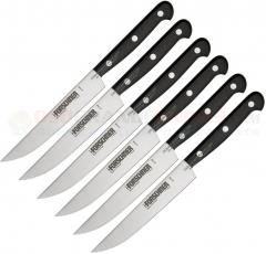 Victorinox Forschner 46799 Steak Knife Set, 6-Piece, Pointed Tip Blade (41799), Black POM Handle