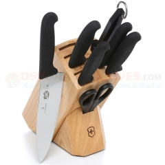 Victorinox Hardwood Kitchen Knife Block Set (8-Piece) Black Fibrox Handles 48891