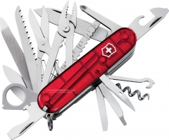Victorinox Swiss Army SwissChamp Multi-Tool Pocket Knife (3.58 Inch | 91mm Closed) Ruby Transluscent Handle 53506