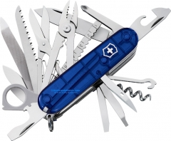 Victorinox Swiss Army SwissChamp Multi-Tool Pocket Knife (3.58 Inch | 91mm Closed) Sapphire Transluscent Handle 53507