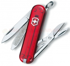 Victorinox Swiss Army Classic SD Multi-Tool Key-Ring Knife (58mm 2.25 Inches Closed) Translucent Ruby Handle 54211