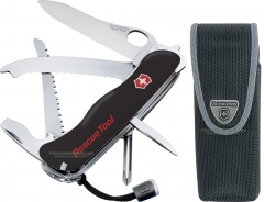 Victorinox Swiss Army 54900 Rescue Tool Multi-Tool Pocket Knife (4.4 Inch / 111mm Closed) Black Handle + Deluxe Nylon Sheath VN54900