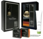 Edwin Jagger GS2SCSWT Gift Set, Ebony Super Badger Shaving Brush w/ Stand, Sandalwood Shaving Cream