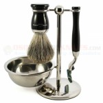 Edwin Jagger S81M71611B 4-Piece Set, Mach 3 Razor, Imitation Ebony, Pure Badger Shaving Brush with Stand and Soap Bowl