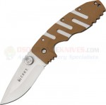 Columbia River CRKT 6803D Ryan Model 7 Desert Tan Folding Knife (3.5 Inch Satin Plain Blade) Zytel Handle