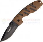 Columbia River CRKT 6803DZ Ryan Model 7 Desert Tan Folding Knife (3.5 Inch Black Plain Blade) Zytel Handle