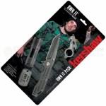 Kershaw 1304BW Own It 4 Piece Set (Assisted Opening Blackwash Folder, LED Flashlight, Mini Tool, Dog Tag)