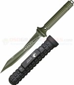 Microtech Jagdkommando Tri-Edge Dagger Fixed (7.0 Inch Triple-Edge Twisted Green Blade) Stainless Handle, Black Aluminum Sheath 105-1GR