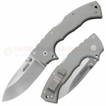 Cold Steel 4-Max Tri-Ad Lock Folding Knife (4 Inch CPM-20CV Stonewash Plain Blade) Gray G10 Handle 62RN