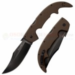 Cold Steel Large Espada Tri-Ad Lock Folding Knife (5.5 Inch CTS-XHP Black DLC Plain Blade) Dark Earth G10 Handle 62NGLVF