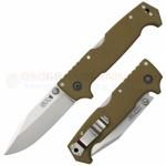 Cold Steel SR1 Tri-Ad Lock Folding Knife (4.0 Inch Clip Point S35VN Satin Plain Blade) OD Green G10 Handle 62L