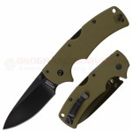 Cold Steel American Lawman Tri-Ad Lock Folding Knife (3.5 Inch CTS-XHP Plain Black DLC Blade) OD Green G10 Handle 58ALVG
