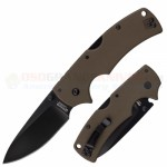 Cold Steel American Lawman Tri-Ad Lock Folding Knife (3.5 Inch CTS-XHP Plain Black DLC Blade) Dark Earth G10 Handle 58ALVF