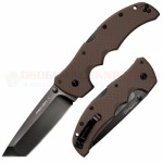 Cold Steel Recon 1 Tanto Tri-Ad Lock Folding Knife (4 Inch CTS-XHP Plain Black DLC Blade) Dark Earth G10 Handle 27TLTVF
