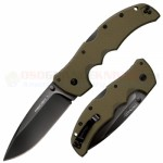 Cold Steel Recon 1 Spear Point Tri-Ad Lock Folding Knife (4 Inch CTS-XHP Plain Black DLC Blade) OD Green G10 Handle 27TLSVG