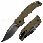 Cold Steel Recon 1 Clip Point Tri-Ad Lock Folding Knife (4 Inch CTS-XHP Plain Black DLC Blade) OD Green G10 Handle 27TLCVG