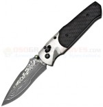 SOG A03 Arcitech Damascus Carbon Fiber Folding Knife (3.5 Inch Damascus VG10 Plain Blade) Carbon Fiber Handle, Serialized A03-P
