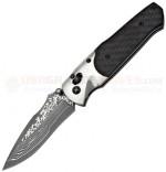 SOG A03 Arcitech Damascus Carbon Fiber Folding Knife (3.5 Inch Damascus VG10 Plain Blade) Carbon Fiber Handle, Serialized A03-P