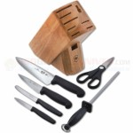 Victorinox 7-Piece Kitchen Block Set (Chef Knife, Mini Chef, Tomato/Bagel, Paring, Honing Steel, Shears) Black Fibrox Handles 48900