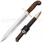 Cold Steel Riflemans Knife Fixed (12.0 Inch Spearpoint Carbon Steel Blade) Rosewood Handle + Black Leather Scabbard 88GRB