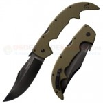 Cold Steel Large Espada Tri-Ad Lock Folding Knife (5.5 Inch CTS-XHP Black DLC Plain Blade) OD Green G10 Handle 62NGLVG