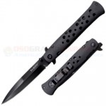 Cold Steel Ti-Lite Limited Edition Liner Lock Folding Knife (4 Inch Stiletto CTS-XHP Black DLC Plain Blade) Aluminum Handle 26AGST
