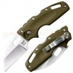Cold Steel Tuff Lite Tri-Ad Lock Folding Knife (2.5 Inch AUS-8A Wharncliffe Satin Plain Blade) OD Green Griv-Ex Handle 20LTG