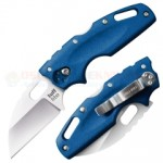 Cold Steel Tuff Lite Tri-Ad Lock Folding Knife (2.5 Inch AUS-8A Wharncliffe Satin Plain Blade) Blue Griv-Ex Handle 20LTB