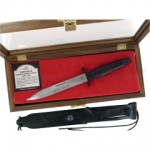 Gerber Command II Dagger 30th Anniversary Fixed (6.5 Inch Double-Edge CPM-S30V Satin Blade) Aluminum Handle + Leather Sheath + Walnut Display Box 30-000362