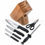 Victorinox 7-Piece Kitchen Block Set (Chef Knife, Mini Chef, Tomato/Bagel, Paring, Honing Steel, Shears) Black Fibrox Handles 48900
